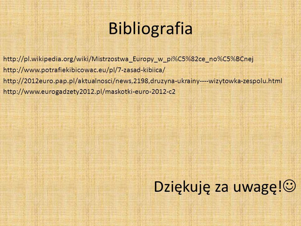Bibliografia http://pl.wikipedia.org/wiki/Mistrzostwa_Europy_w_pi%C5%82ce_no%C5%BCnej http://www.potrafiekibicowac.eu/pl/7-zasad-kibiica/ http://2012e