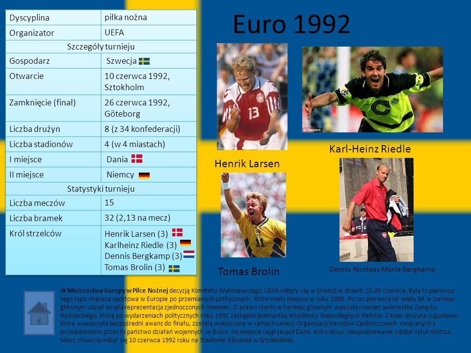 Euro 1992 IX Mistrzostwa Europy w Piłce Nożnej decyzją Komitetu Wykonawczego UEFA odbyły się w Szwecji w dniach 10-26 czerwca. Była to pierwsza tego t
