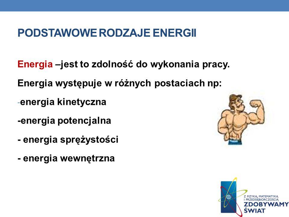 ENERGIA KINETYCZNA Jest to energia danego ciała związana z jego ruchem.
