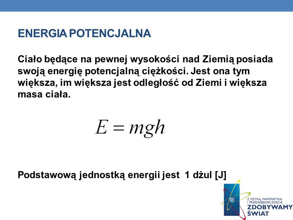 Przykładem zastosowania energii potencjalnej jest elektrownia wodna - z dużą różnicą wysokości – spadająca woda ma tym większą energię im ma większą wysokość spadku.
