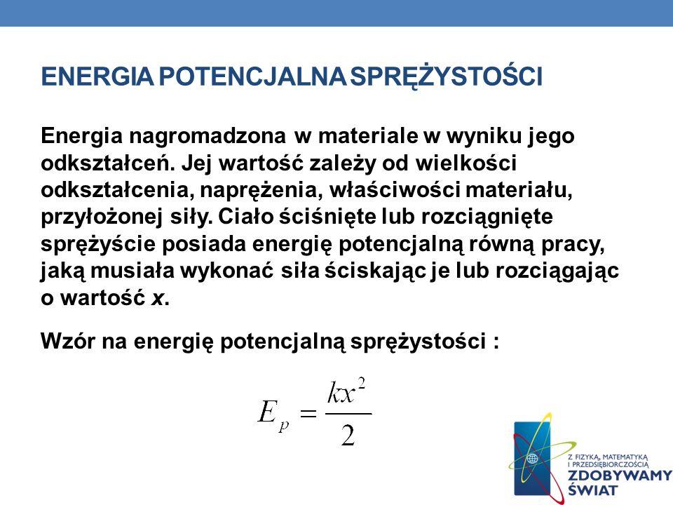Przykładem zastosowania energii potencjalnej sprężystości jest skok z trampoliny, wystrzelenie strzały z łuku, działanie amortyzatorów np.