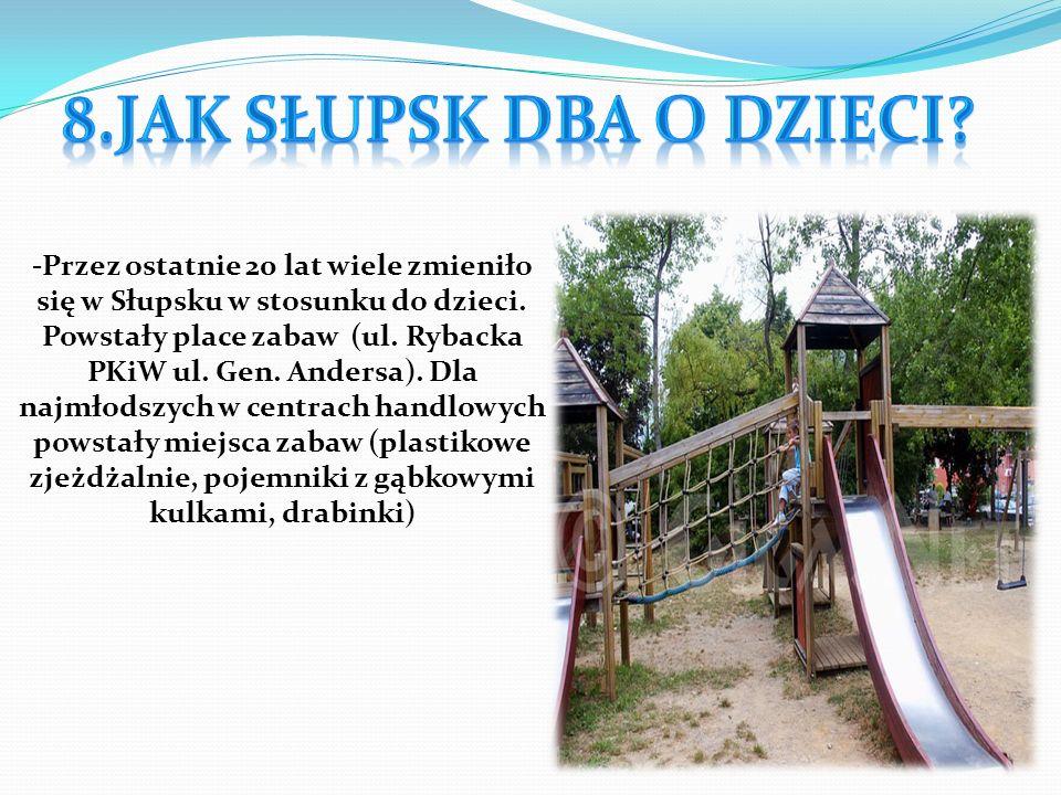 -Przez ostatnie 20 lat wiele zmieniło się w Słupsku w stosunku do dzieci. Powstały place zabaw (ul. Rybacka PKiW ul. Gen. Andersa). Dla najmłodszych w