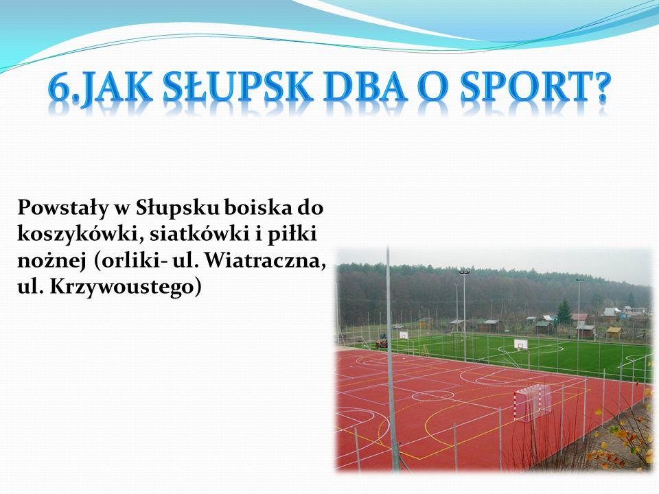 W Słupsku są również kluby sportowe: -Energa Czarni Słupsk (koszykówka) - Salos Słupsk (koszykówka, piłka nożna i tenis stołowy) - Gryf 95 Słupsk (piłka nożna) - Skalar Słupsk (pływanie) Centra sportowe w Słupsku: Słupski Ośrodek Sportu I Rekreacji (ul.