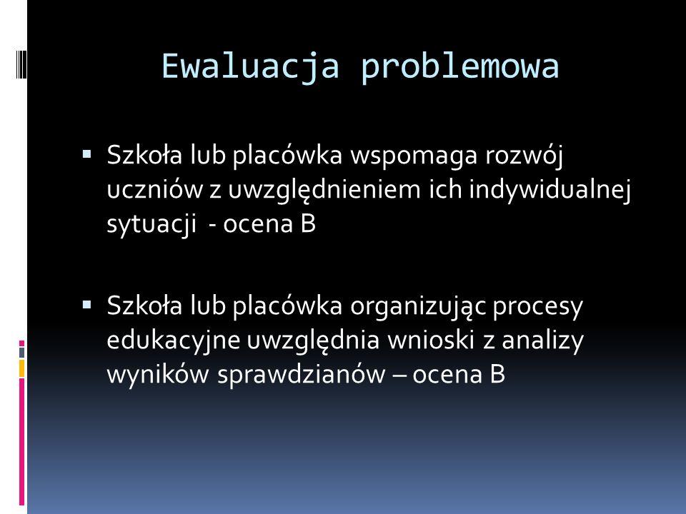 Ewaluacja problemowa Szkoła lub placówka wspomaga rozwój uczniów z uwzględnieniem ich indywidualnej sytuacji - ocena B Szkoła lub placówka organizując