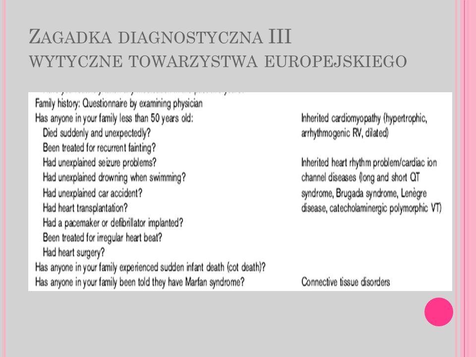 Z AGADKA DIAGNOSTYCZNA III WYTYCZNE TOWARZYSTWA EUROPEJSKIEGO