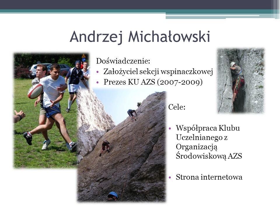 Andrzej Michałowski Doświadczenie: Założyciel sekcji wspinaczkowej Prezes KU AZS (2007-2009) Cele: Współpraca Klubu Uczelnianego z Organizacją Środowiskową AZS Strona internetowa