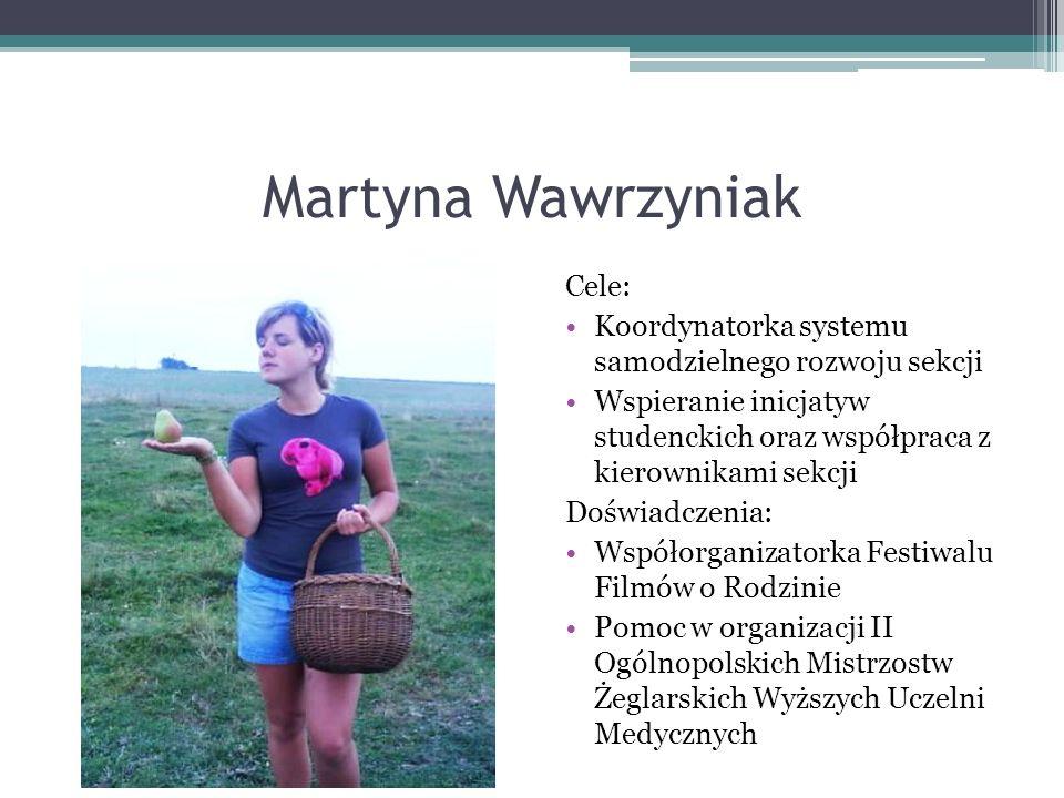 Agnieszka Wintrowicz Cele: Organizacja studenckich obozów sportowo-rekreacyjnych Planowanie uczestnictwa w zawodach sportowych Reaktywacja sekcji wspinaczki