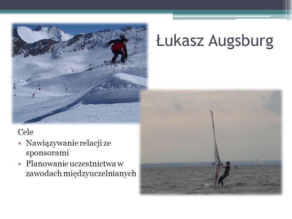 Łukasz Augsburg Cele Nawiązywanie relacji ze sponsorami Planowanie uczestnictwa w zawodach międzyuczelnianych