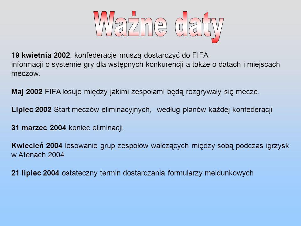 19 kwietnia 2002, konfederacje muszą dostarczyć do FIFA informacji o systemie gry dla wstępnych konkurencji a także o datach i miejscach meczów. Maj 2