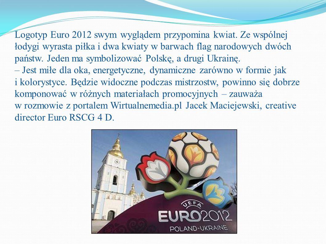Logotyp Euro 2012 swym wyglądem przypomina kwiat. Ze wspólnej łodygi wyrasta piłka i dwa kwiaty w barwach flag narodowych dwóch państw. Jeden ma symbo