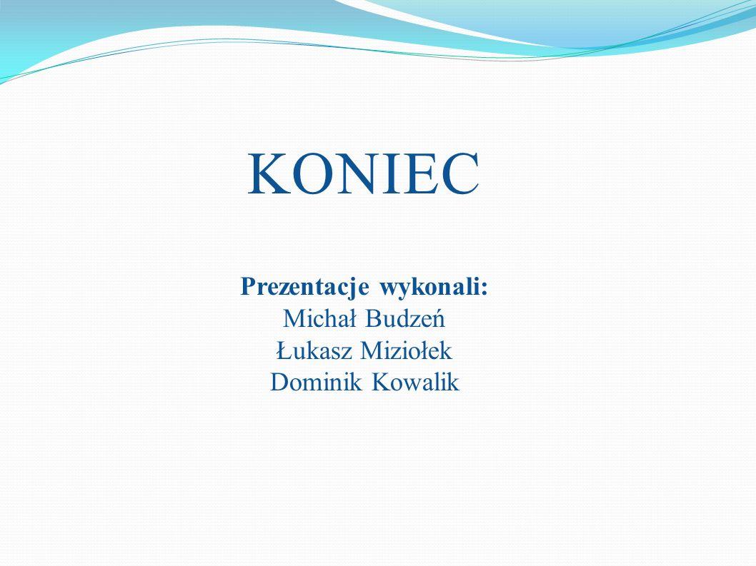 KONIEC Prezentacje wykonali: Michał Budzeń Łukasz Miziołek Dominik Kowalik