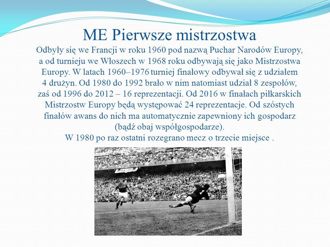 ME Pierwsze mistrzostwa Odbyły się we Francji w roku 1960 pod nazwą Puchar Narodów Europy, a od turnieju we Włoszech w 1968 roku odbywają się jako Mistrzostwa Europy.