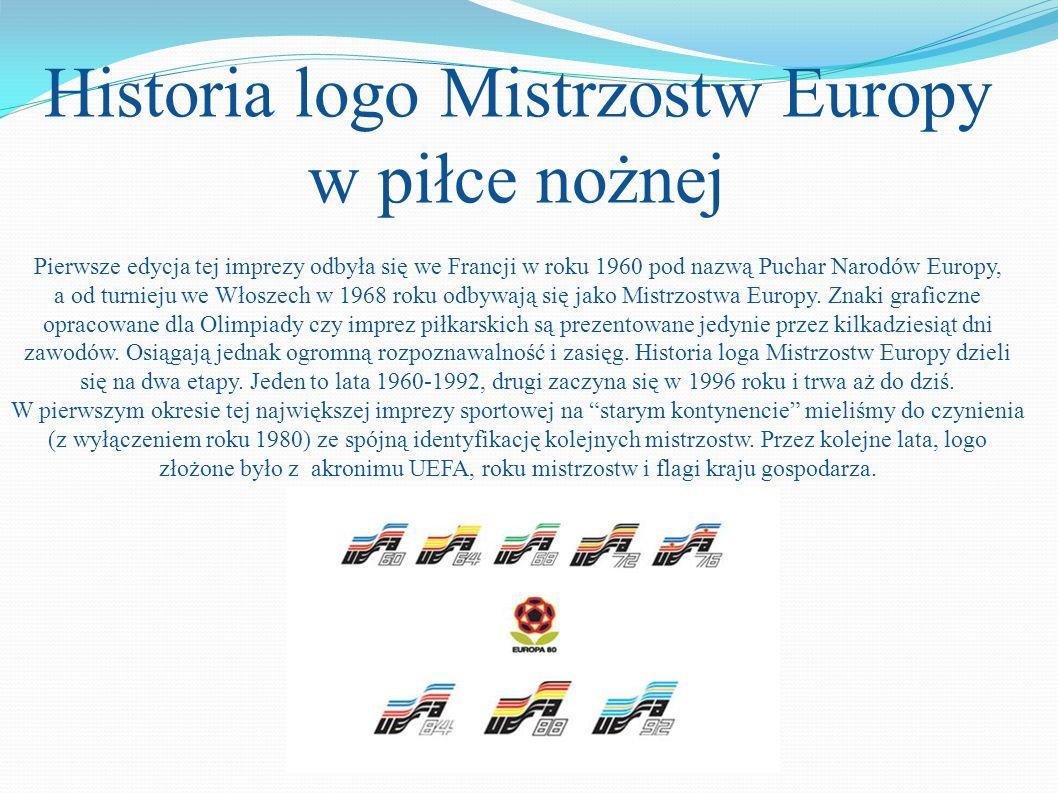 Historia logo Mistrzostw Europy w piłce nożnej Pierwsze edycja tej imprezy odbyła się we Francji w roku 1960 pod nazwą Puchar Narodów Europy, a od turnieju we Włoszech w 1968 roku odbywają się jako Mistrzostwa Europy.