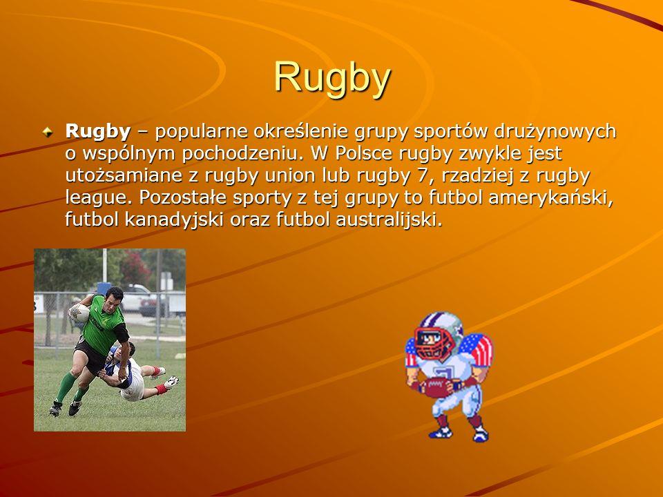 Rugby Rugby – popularne określenie grupy sportów drużynowych o wspólnym pochodzeniu. W Polsce rugby zwykle jest utożsamiane z rugby union lub rugby 7,