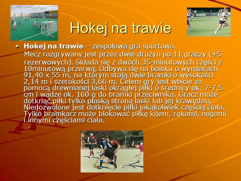 Hokej na trawie Hokej na trawie – zespołowa gra sportowa. Mecz rozgrywany jest przez dwie drużyn po 11 graczy (+5 Mecz rozgrywany jest przez dwie druż