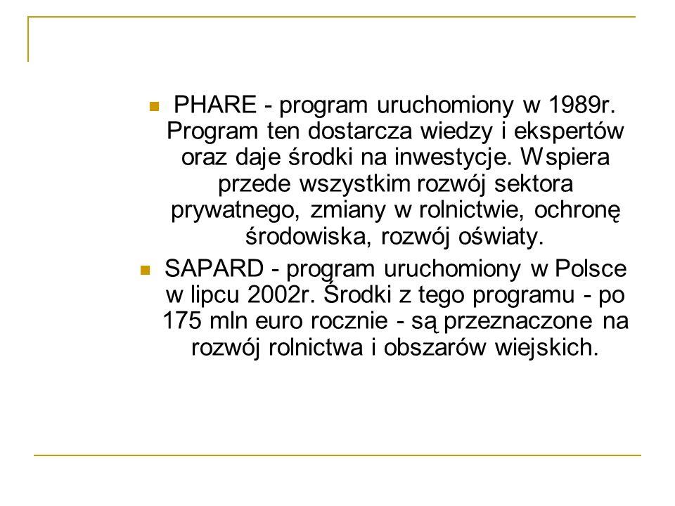 PHARE - program uruchomiony w 1989r. Program ten dostarcza wiedzy i ekspertów oraz daje środki na inwestycje. Wspiera przede wszystkim rozwój sektora