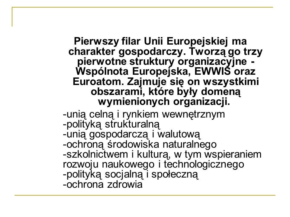 Pierwszy filar Unii Europejskiej ma charakter gospodarczy. Tworzą go trzy pierwotne struktury organizacyjne - Wspólnota Europejska, EWWIS oraz Euroato