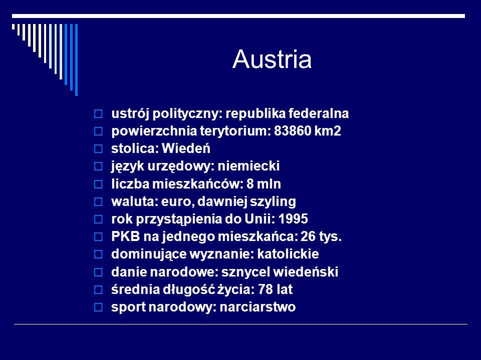 Austria ustrój polityczny: republika federalna powierzchnia terytorium: 83860 km2 stolica: Wiedeń język urzędowy: niemiecki liczba mieszkańców: 8 mln