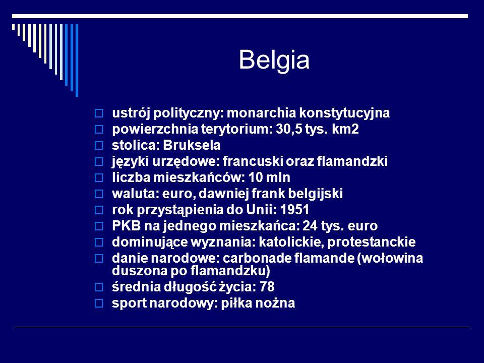 Belgia ustrój polityczny: monarchia konstytucyjna powierzchnia terytorium: 30,5 tys. km2 stolica: Bruksela języki urzędowe: francuski oraz flamandzki