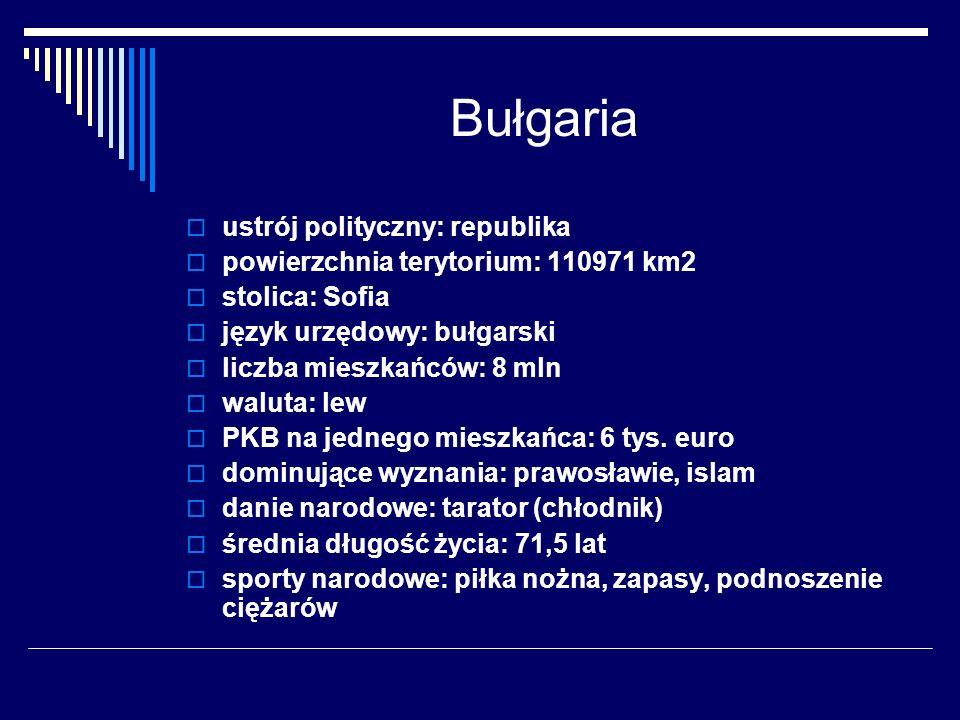 Bułgaria ustrój polityczny: republika powierzchnia terytorium: 110971 km2 stolica: Sofia język urzędowy: bułgarski liczba mieszkańców: 8 mln waluta: l