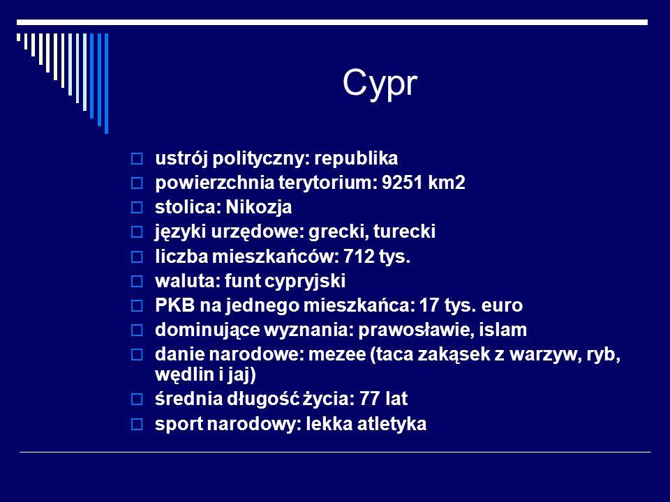 Cypr ustrój polityczny: republika powierzchnia terytorium: 9251 km2 stolica: Nikozja języki urzędowe: grecki, turecki liczba mieszkańców: 712 tys. wal