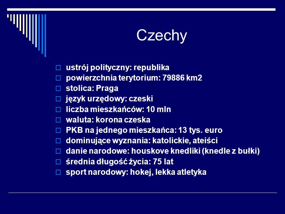 Czechy ustrój polityczny: republika powierzchnia terytorium: 79886 km2 stolica: Praga język urzędowy: czeski liczba mieszkańców: 10 mln waluta: korona