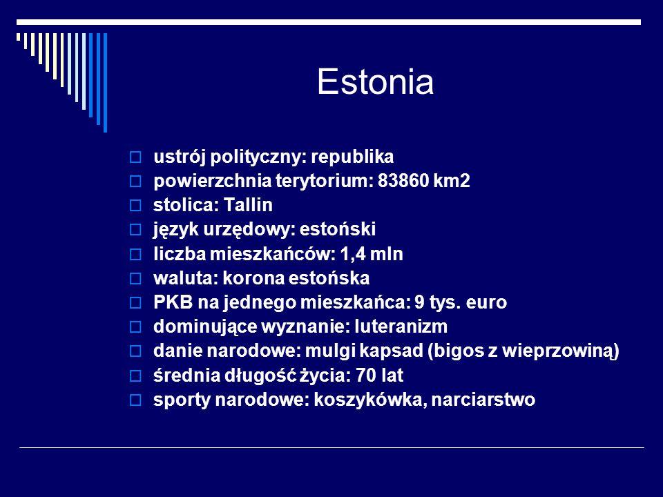 Estonia ustrój polityczny: republika powierzchnia terytorium: 83860 km2 stolica: Tallin język urzędowy: estoński liczba mieszkańców: 1,4 mln waluta: k