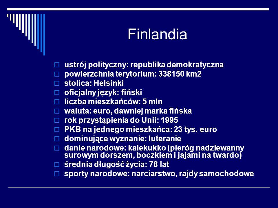 Finlandia ustrój polityczny: republika demokratyczna powierzchnia terytorium: 338150 km2 stolica: Helsinki oficjalny język: fiński liczba mieszkańców: