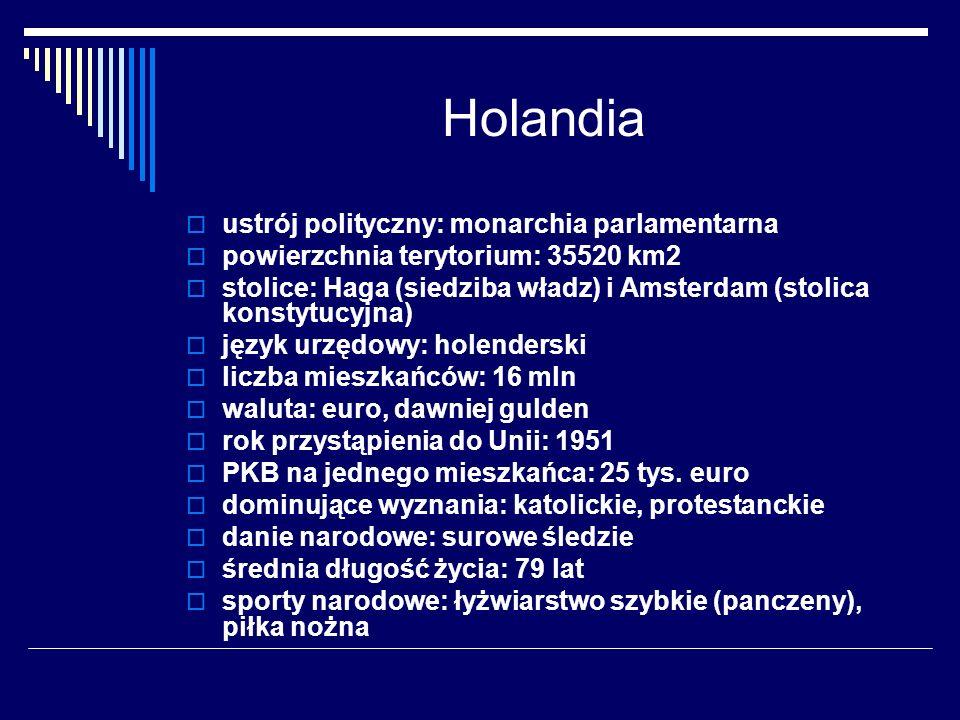Holandia ustrój polityczny: monarchia parlamentarna powierzchnia terytorium: 35520 km2 stolice: Haga (siedziba władz) i Amsterdam (stolica konstytucyj