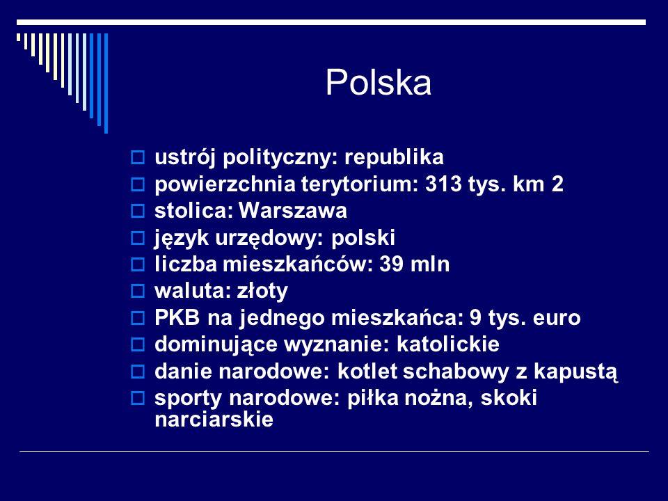 Polska ustrój polityczny: republika powierzchnia terytorium: 313 tys. km 2 stolica: Warszawa język urzędowy: polski liczba mieszkańców: 39 mln waluta: