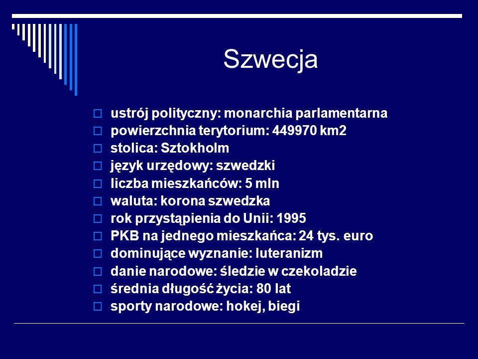 Szwecja ustrój polityczny: monarchia parlamentarna powierzchnia terytorium: 449970 km2 stolica: Sztokholm język urzędowy: szwedzki liczba mieszkańców: