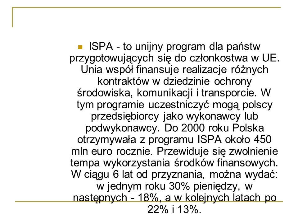 ISPA - to unijny program dla państw przygotowujących się do członkostwa w UE. Unia współ finansuje realizacje różnych kontraktów w dziedzinie ochrony