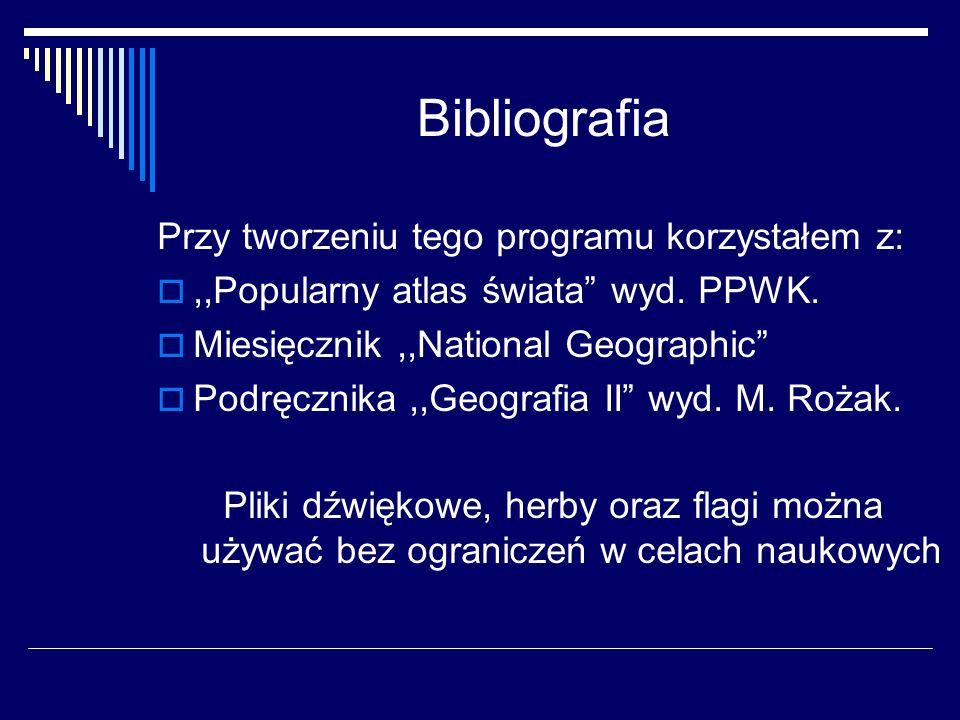 Bibliografia Przy tworzeniu tego programu korzystałem z:,,Popularny atlas świata wyd. PPWK. Miesięcznik,,National Geographic Podręcznika,,Geografia II