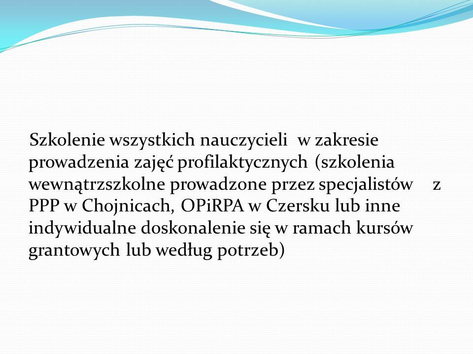 Szkolenie wszystkich nauczycieli w zakresie prowadzenia zajęć profilaktycznych (szkolenia wewnątrzszkolne prowadzone przez specjalistów z PPP w Chojni