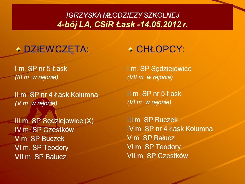 IGRZYSKA MŁODZIEŻY SZKOLNEJ 4-bój LA, CSiR Łask -14.05.2012 r.