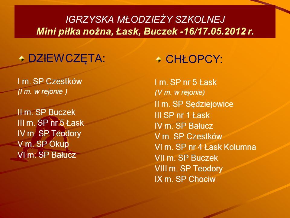 IGRZYSKA MŁODZIEŻY SZKOLNEJ Mini piłka nożna, Łask, Buczek -16/17.05.2012 r.