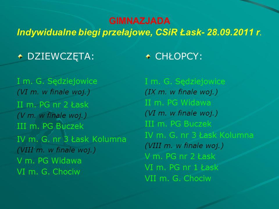 GIMNAZJADA Indywidualne biegi przełajowe, CSiR Łask- 28.09.2011 r.