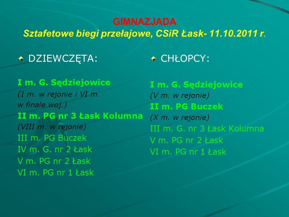 GIMNAZJADA Sztafetowe biegi przełajowe, CSiR Łask- 11.10.2011 r.
