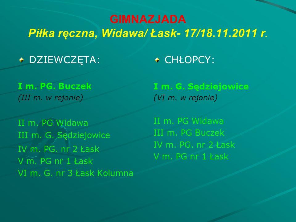 GIMNAZJADA Piłka ręczna, Widawa/ Łask- 17/18.11.2011 r.