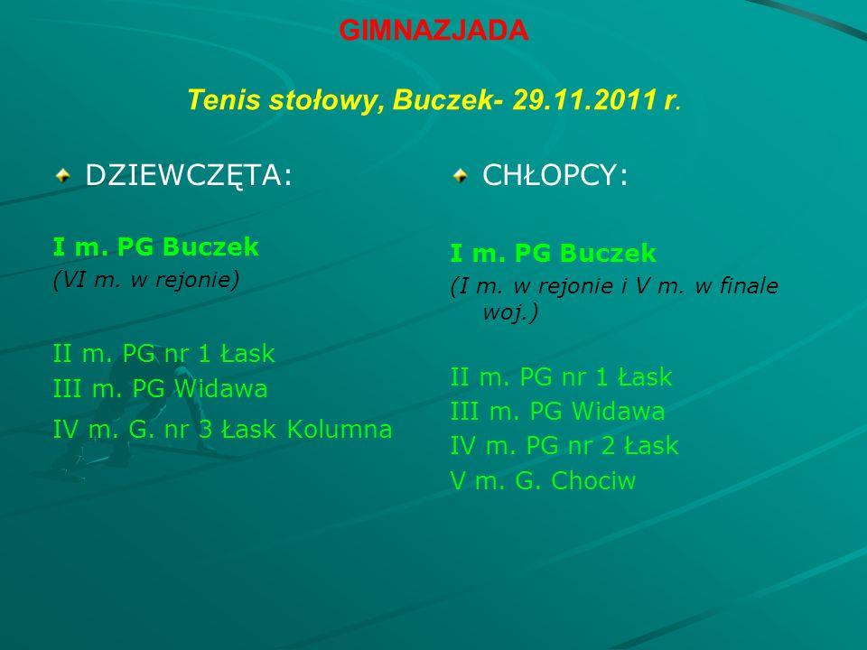 GIMNAZJADA Tenis stołowy, Buczek- 29.11.2011 r. DZIEWCZĘTA: I m.