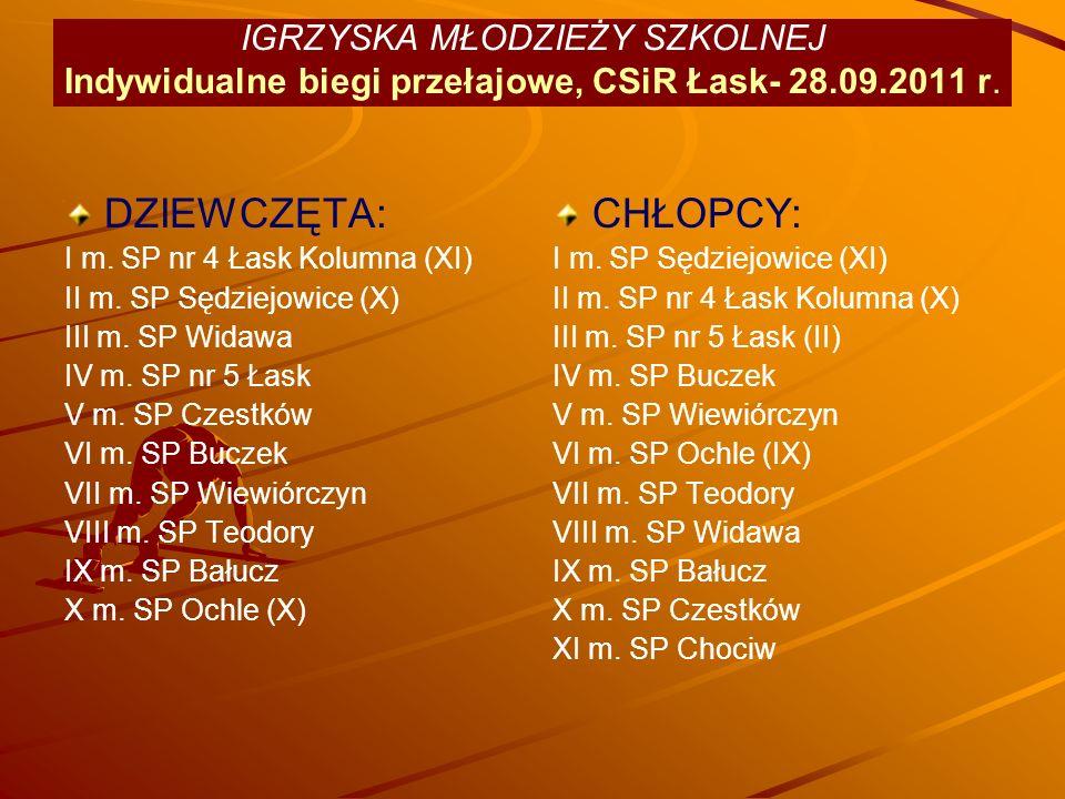 IGRZYSKA MŁODZIEŻY SZKOLNEJ Indywidualne biegi przełajowe, CSiR Łask- 28.09.2011 r.