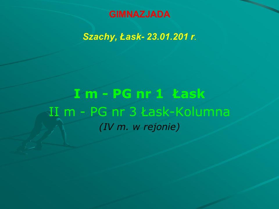 GIMNAZJADA Szachy, Łask- 23.01.201 r. I m - PG nr 1 Łask II m - PG nr 3 Łask-Kolumna (IV m.
