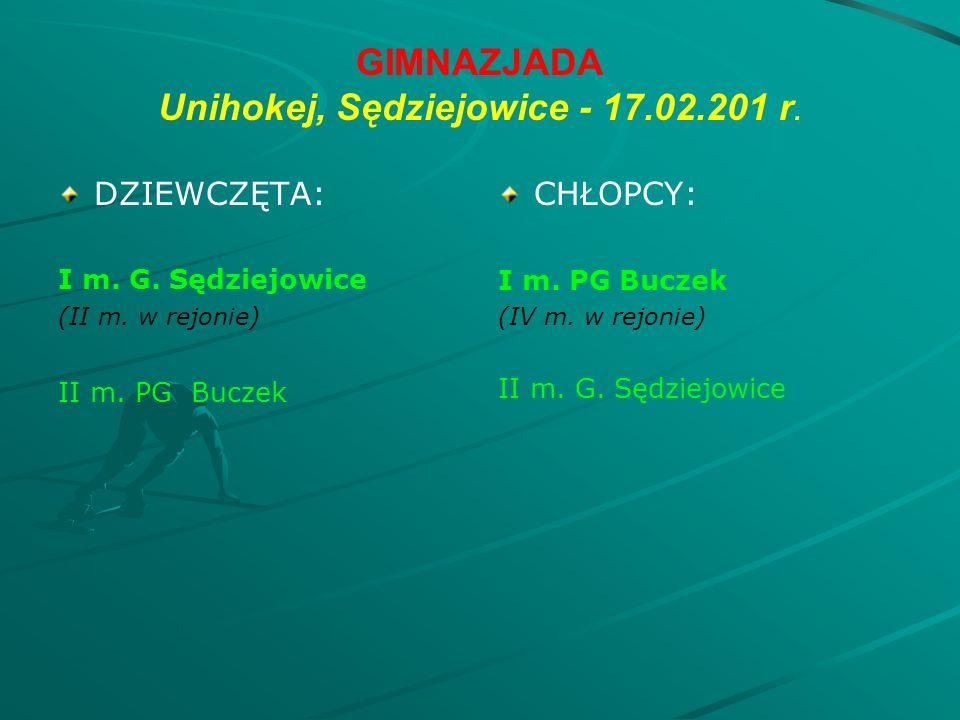 GIMNAZJADA Unihokej, Sędziejowice - 17.02.201 r. DZIEWCZĘTA: I m.
