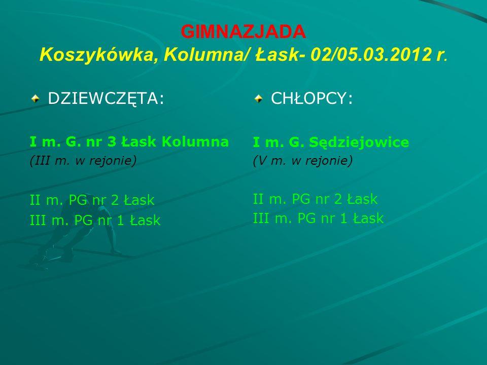 GIMNAZJADA Koszykówka, Kolumna/ Łask- 02/05.03.2012 r.
