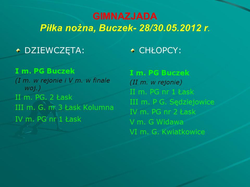 GIMNAZJADA Piłka nożna, Buczek- 28/30.05.2012 r. DZIEWCZĘTA: I m.