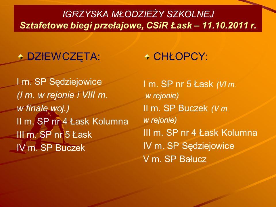 IGRZYSKA MŁODZIEŻY SZKOLNEJ Sztafetowe biegi przełajowe, CSiR Łask – 11.10.2011 r.
