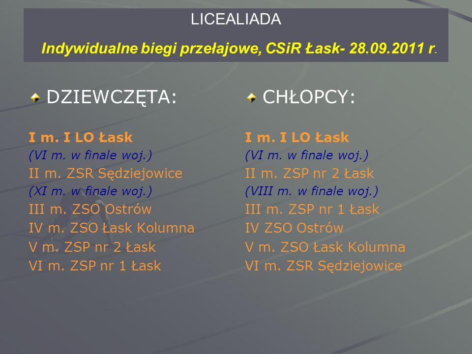 LICEALIADA Indywidualne biegi przełajowe, CSiR Łask- 28.09.2011 r.