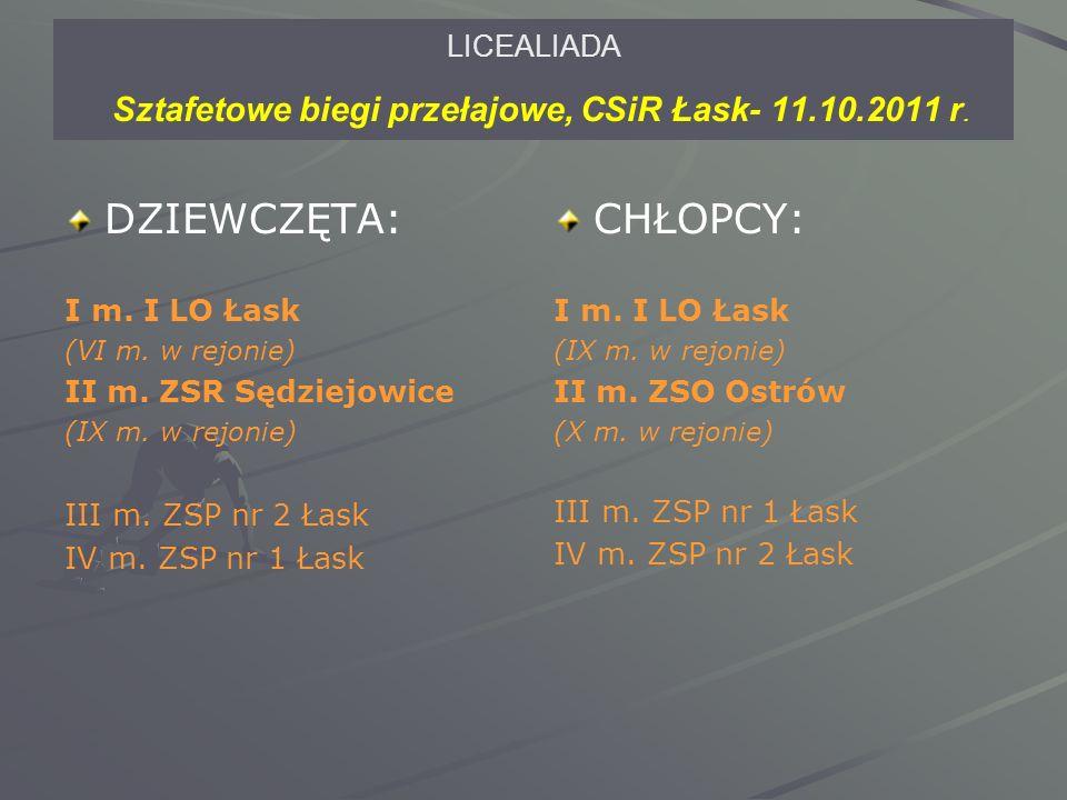 LICEALIADA Sztafetowe biegi przełajowe, CSiR Łask- 11.10.2011 r.