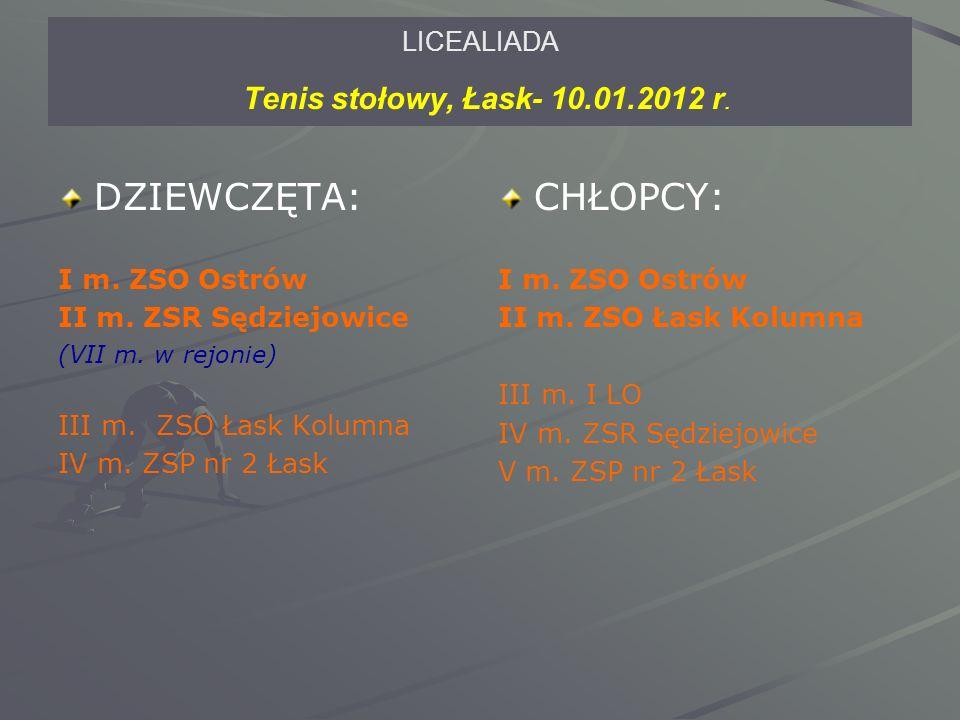 LICEALIADA Tenis stołowy, Łask- 10.01.2012 r. DZIEWCZĘTA: I m.