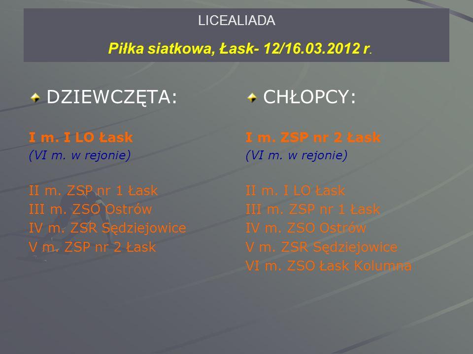 LICEALIADA Piłka siatkowa, Łask- 12/16.03.2012 r. DZIEWCZĘTA: I m.